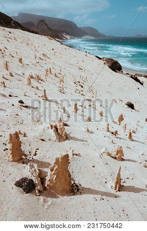 Bizarre Sandstone Formations In The Lunar Landscape On The Coastline Of Sao Vicente Island Cape Verd