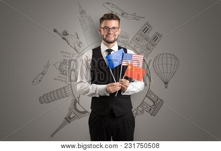Elegant man with sightseeing concept on the background  and flag on his hand