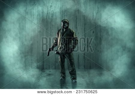 Dreadful dangerous man with wood, shanty wallpaper and fume around