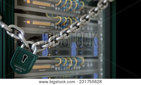 Servers And Hardware Room Computer Technology Security Concept