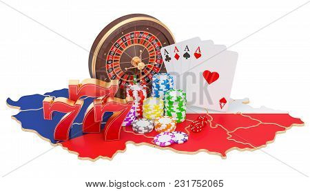 Casino And Gambling Industry In Czech Republic Concept, 3d Rendering Isolated On White Background