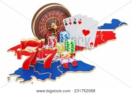 Casino And Gambling Industry In North Korea Concept, 3d Rendering Isolated On White Background