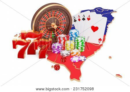 Casino And Gambling Industry In Taiwan Concept, 3d Rendering Isolated On White Background
