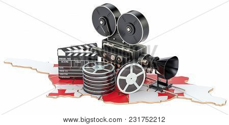 Georgian Cinematography, Film Industry Concept. 3d Rendering Isolated On White Background