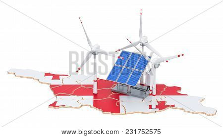 Renewable Energy And Sustainable Development In Georgia, Concept. 3d Rendering Isolated On White Bac