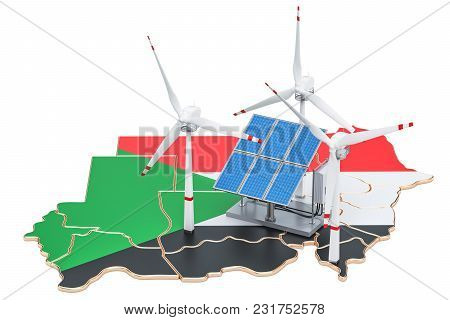 Renewable Energy And Sustainable Development In Sudan, Concept. 3d Rendering Isolated On White Backg