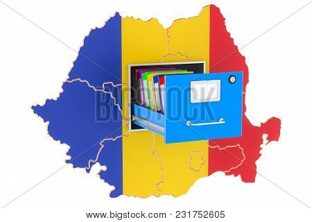 Romanian National Database Concept, 3d Rendering Isolated On White Background