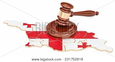 Wooden Gavel On Map Of Georgia, 3d Rendering Isolated On White Background