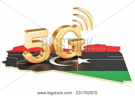 5g In Libya Concept, 3d Rendering Isolated On White Background