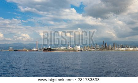 View Of Big Ships In Industrial Zone In Milazzo On Sicily, Italy