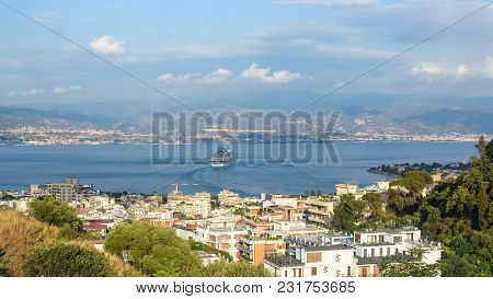 View Of The Messina Strait Between Sicily And Calabria, Italy