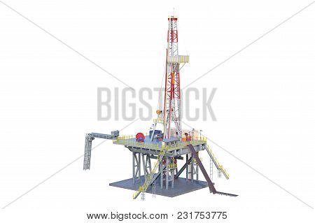Land Rig Industrial Equipment Production Gas. 3d Rendering