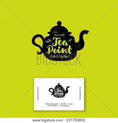 Tea Point Logo. Tea Bar Emblem. Internet Shop. Teapot Or Kettle And Letters On A Bright Background.