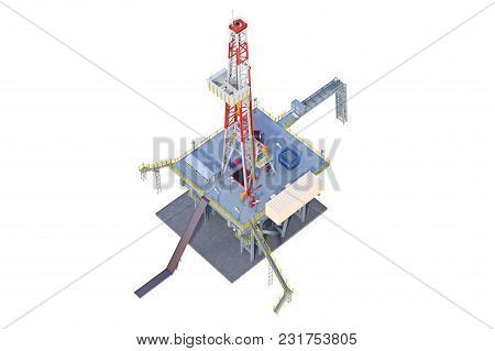 Rig Steel Platform Drilling Well. 3d Rendering