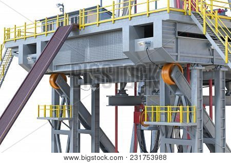 Land Rig Metal Platform Industry Oil, Close View. 3d Rendering