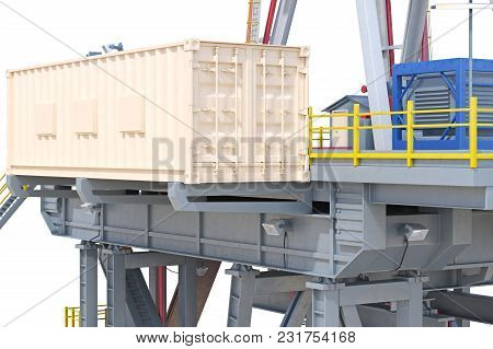 Rig Platform Equipment, Close View. 3d Rendering