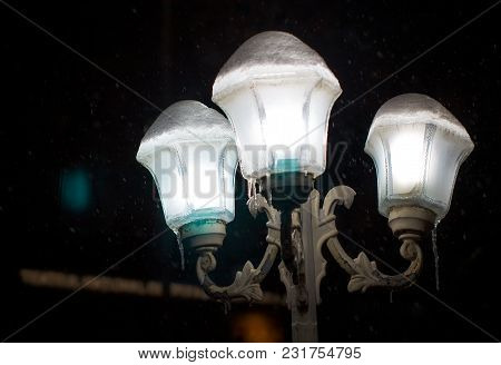 Night Street Illumination With Lamps In The Winter