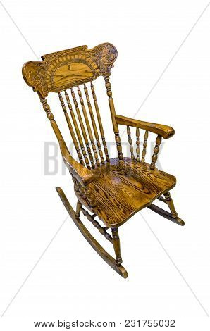 Wooden Carved Chair Rocking Brown On A White Background, Isolated