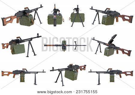 Gun Machine Black Military Set. 3d Rendering