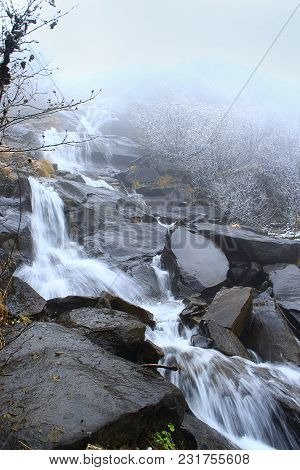 Beautiful Landscape With Waterfall And River Flowing In Mountains. Cascade Waterfall In Mountains. P