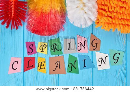 Spring Cleaning Colorful Background. Spring Cleaning Colorful Papercut Letters. Home Cleaning Concep