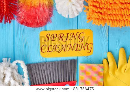 Composition of colorful house cleaning products. Spring cleanup theme. Time for spring cleaning. poster