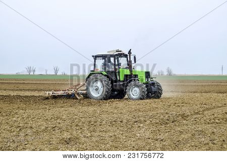The Field Next To Krasnodar, Russia - March 18, 2018: Lush And Loosen The Soil On The Field Before S