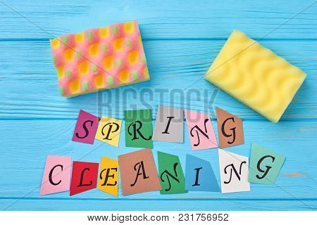 Colorful Paper Cut Letters Spring Cleaning. Kitchen Sponges And Text Spring Cleaning. Spring Cleanin