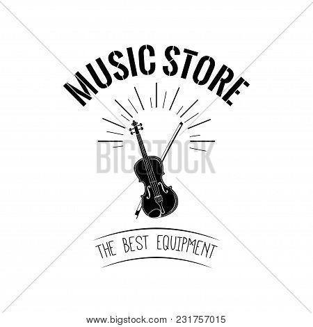 Violin Icon. Musical Instrument Symbol. Music Store. Vector Illustration