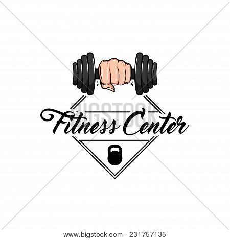 Dumbbell In Fist. Gym Weightlifting And Fitness Sport Club Logo, Emblem Or Badge. Strong Hand Fist.
