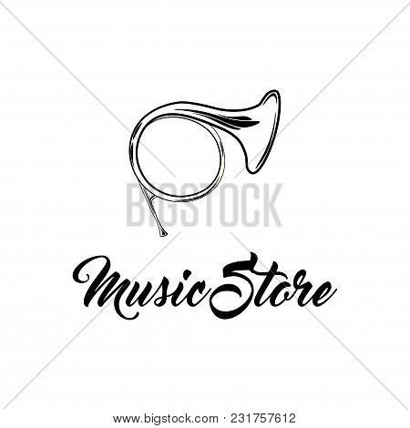 French Musical Horn, Tuba Icon. Musical Instrument. Music Store Logo. Vector Illustration
