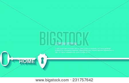 Key Hall With Shield Background, Vector Illustration