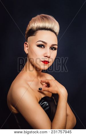 Blonde Woman With Beautifully Laid Short Hair Close-up