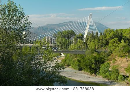The Millennium Bridge is a cable-stayed bridge that spans the Moraca River in Podgorica, Montenegro