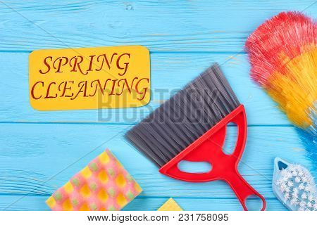 Coloful Equipment For House Cleaning. House Cleaning Supplies And Paper Card. Spring Cleaning Servic