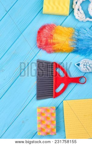 Flat Lay Items For House Cleaning. Set Of Products For House Cleaning, Copy Space. Household Chores