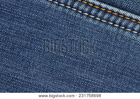 Jeans Of Texture Background. Jeans Of Texture Vintage Background. Close-up Denim Of Background And T