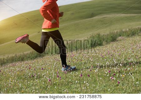 Young Fitness Woman Runner Running On Mountain Grassland