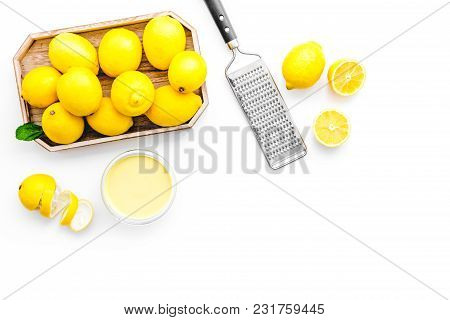 Home Kitchen Table With Yellow Lemons For Cooking Citrus Curd On White Background Top View Mock-up