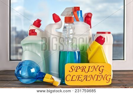 Assorted Cleaning Bottles. Assortment Of Means For Cleaning. Spring Cleaning Concept.