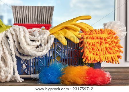 Close Up Products For Cleaning. Basket Full Of Cleaning Equipment. Big Spring Cleaning.