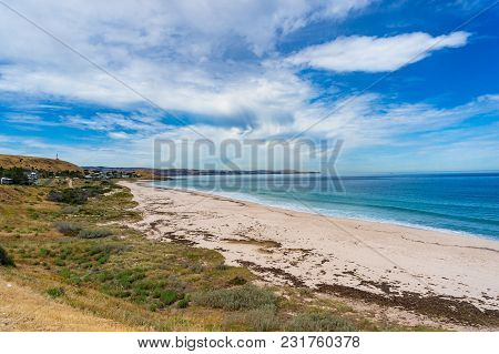 Spectacular Beach Landscape With Blue Ocean, Sea Water And Picturesque Sky