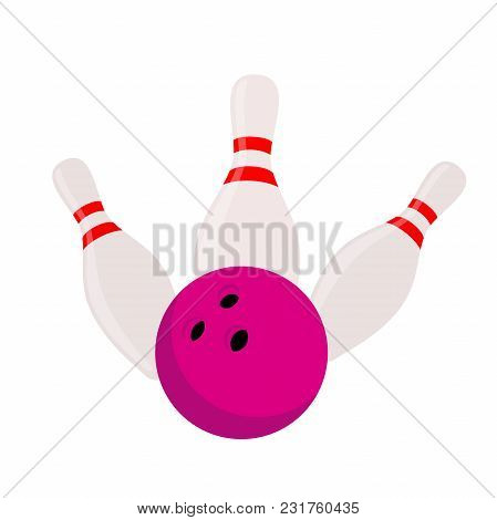 Vector Skittles With Bowling - Strike Isolated On Background. Sport Equipment Concept. Made In Carto