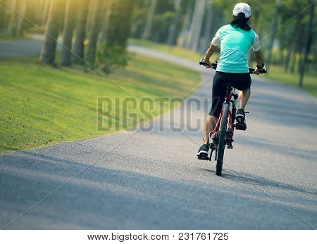 woman cyclist riding bike on forest trail