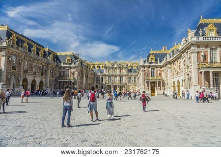 Visitors At The Chateau De Versailles In Paris, France.