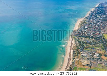 Aerial View Of Beautiful Ocean Coastline With Sandy Beaches And Waterfront Property. Glenelg, Adelai
