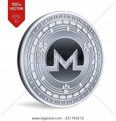 Monero. 3d Isometric Physical Coin. Digital Currency. Cryptocurrency. Silver Coin With Monero Symbol
