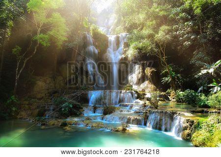 Tat Kuang Si Waterfalls At Luangprabang Laos. Sunset