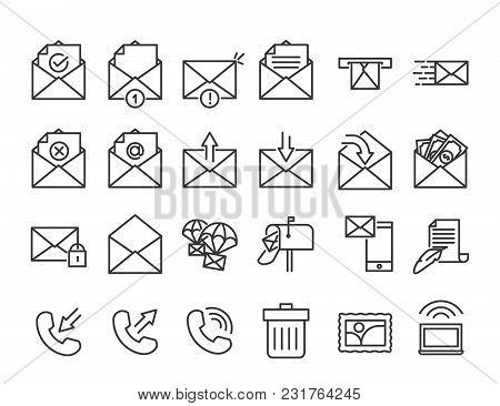 Email, Phone And Communication Thin Line Icons. Vector Illustration Design For Contact Related Subje