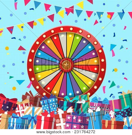 Creative Design Banner With Colorful Festival And Wheel Of Fortune And Plenty Of Presents.